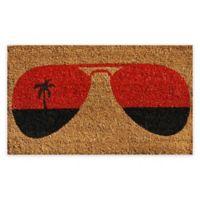 """Calloway Mills Tropical View 17"""" x 29"""" Coir Door Mat in Natural/Orange"""