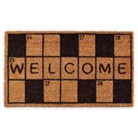 """Calloway Mills Crossword Welcome 17"""" x 29"""" Coir Door Mat in Black/Natural"""
