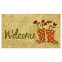 """Calloway Mills Rainboots Welcome 17"""" x 29"""" Multicolor Coir Door Mat"""