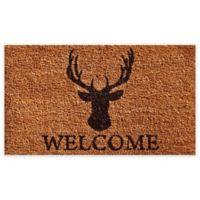 """Calloway Mills Deer Welcome 17"""" x 29"""" Coir Door Mat in Natural/Black"""