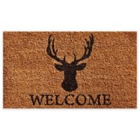 """Calloway Mills Deer Welcome 24"""" x 36"""" Coir Door Mat in Natural/Black"""