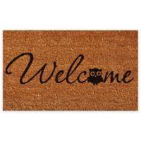 """Calloway Mills Barn Owl Welcome 24"""" x 36"""" Coir Door Mat in Natural/Black"""