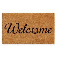 "Calloway Mills Kitty Welcome 17"" x 29"" Coir Door Mat in Natural/Black"