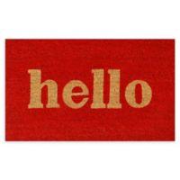 """Calloway Mills Hello 17"""" x 29"""" Coir Door Mat in Red/Natural"""