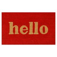 """Calloway Mills Hello Print 24"""" x 36"""" Coir Door Mat in Red/Natural"""