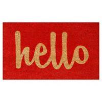 """Calloway Mills Hello Script 17"""" x 29"""" Coir Door Mat in Red/Natural"""