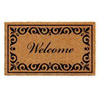 """Calloway Mills Breaux Welcome 24"""" x 36"""" Coir Door Mat in Natural/Black"""