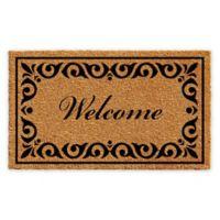 """Calloway Mills Breaux Welcome 30"""" x 48"""" Coir Door Mat in Natural/Black"""