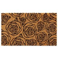 "Calloway Mills Black Rose 17"" x 29"" Coir Door Mat in Natural/Black"