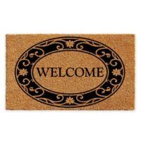 "Calloway Mills Plantation Welcome 30"" x 48"" Coir Door Mat in Natural/Black"