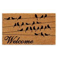 """Calloway Mills Black Bird Welcome 17"""" x 29"""" Coir Door Mat in Natural/Black"""