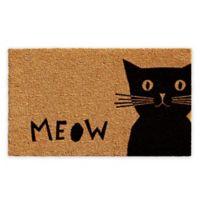 "Calloway Mills Meow 17"" x 29"" Coir Door Mat in Natural/Black"