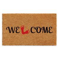"Calloway Mills Welcome Feet 17"" x 29"" Coir Door Mat in Natural/Black"