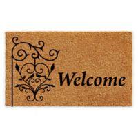 """Calloway Mills Welcome Post 17"""" x 29"""" Coir Door Mat in Natural/Black"""