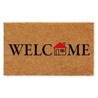 "Calloway Mills Little House Welcome 17"" x 29"" Coir Door Mat in Natural/Black"