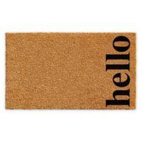 """Vertical Hello 17"""" x 29"""" Coir Door Mat in Natural/Black"""