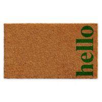 "Vertical Hello 17"" x 29"" Coir Door Mat in Natural/Green"