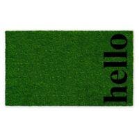 """Vertical Hello 17"""" x 29"""" Coir Door Mat in Green/Black"""
