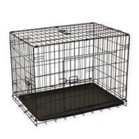 Aleko 2-Door 24-Inch Folding Pet Crate in Black