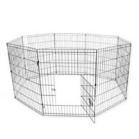 24-Inch Dog Playpen Crate Fence in Black
