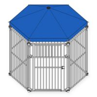 6-Panel Medium Dog Pen with Blue Umbrella