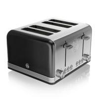 Swan® Retro Style 4-Slice Toaster in Black