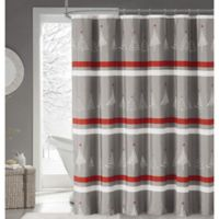 Magical Winter Forest Fabric Shower Curtain in Grey