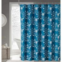 Snowflakes Fabric Shower Curtain in Teal