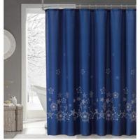 Midnight Snow Shower Curtain in Navy