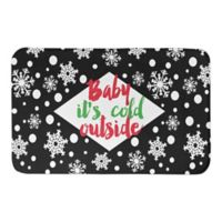 "Designs Direct 34"" x 21"" ""Baby it's Cold Outside"" Bath Mat in Black"