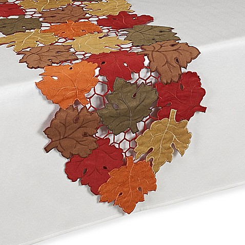 Buy Scattered Leaves Harvest 54-Inch Table Runner from Bed ...