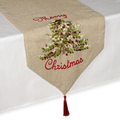 Ribboned Christmas Tree 90 Inch Table Runner