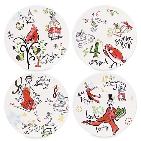 12 Days of Christmas Dessert Plates - Set of 4  sc 1 st  Bed Bath u0026 Beyond & 12 Days of Christmas Dessert Plates - Set of 4 - Bed Bath u0026 Beyond