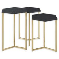 Forest Gate Hex Faux Marble Nesting Tables in Gold/Graphite (Set of 3)