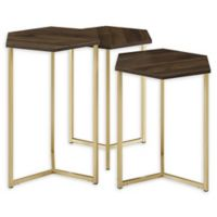Forest Gate Hex Faux Marble Nesting Tables in Gold/Dark Walnut (Set of 3)