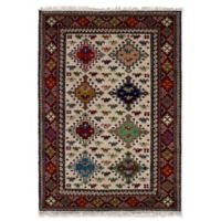 "ECARPETGALLERY Royal Kazak 4'1"" X 5'11"" Hand-Knotted Area Rug in Cream/red"