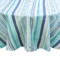 Destination Summer Laguna Striped 70-Inch Round Tablecloth w/Umbrella Hole in Blue