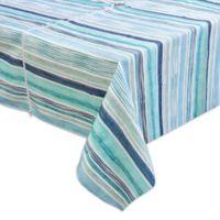Destination Summer Laguna Striped 60-Inch x 120-Inch Oblong Tablecloth w/Umbrella Hole in Blue