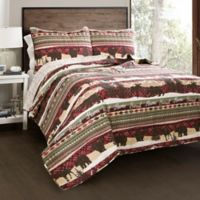 Lush Decor Holiday Lodge Reversible King Quilt Set in Red