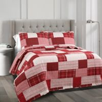 Lush Decor Greenville Reversible King Quilt Set in Red