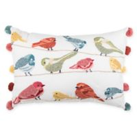 Bird Print Pom Pom Oblong Throw Pillow in Red