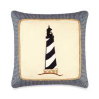 Atlantic Isle Lighthouse Appliqué Square Pillow