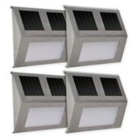 Solar Step Lights in Silver (Set of 4)
