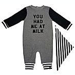 "Mini Heroes™ Size 3M ""You Had Me At Milk"" Coverall and Bandana Set in Grey"