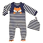 Baby Starters® Size 3M 2-Piece Forest Friends Fox Coverall and Hat Set in Blue