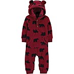 carter's® Size 12M Hooded Fleece Bear Coverall in Red