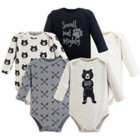 Yoga Sprout Size 0-3M 5-Pack Bear Hugs Long-Sleeve Bodysuits