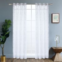 Della 54-Inch Grommet Embroidered Window Curtain Panel in White