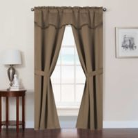 Burlington 63-Inch Rod Pocket Room Darkening Window Curtain Panel Set in Gold