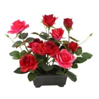 National Tree Company 10-Inch Artificial Rose Flowers with Pot